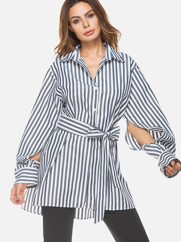 7e0a9dd8 US$ 30 - Split Sleeve Stepped Hem Loose Striped Shirts with Belt -  www.onebling.com