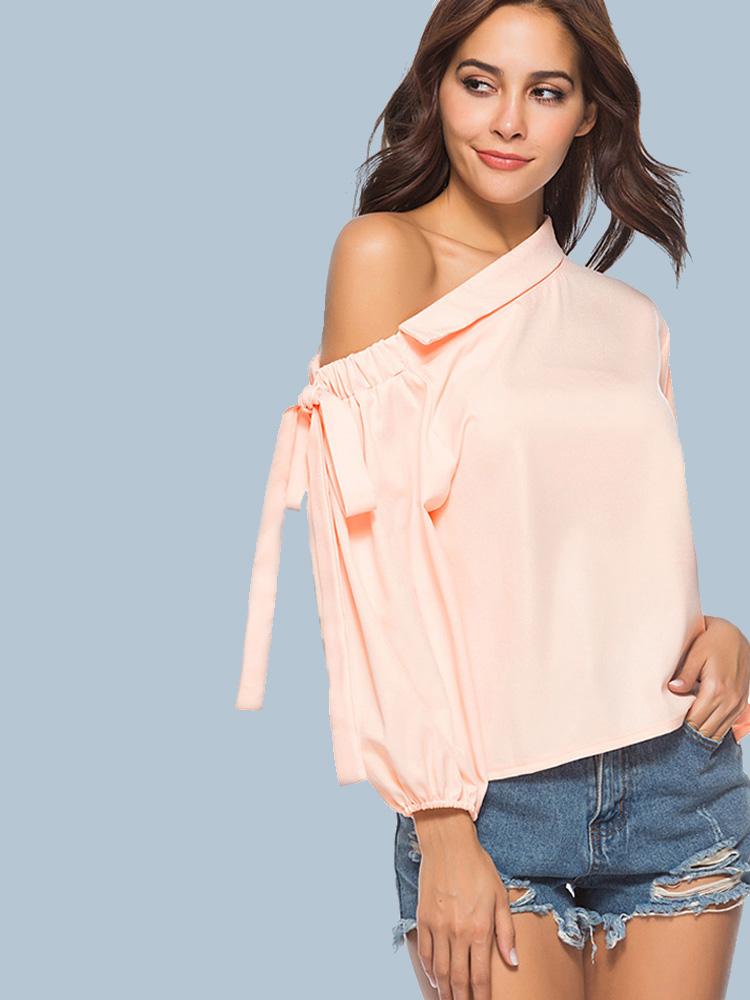 9fb8d2a6516 US$ 22 - OneBling Ballon Sleeve One Shoulder Tops with Tie Detail - www. onebling.com