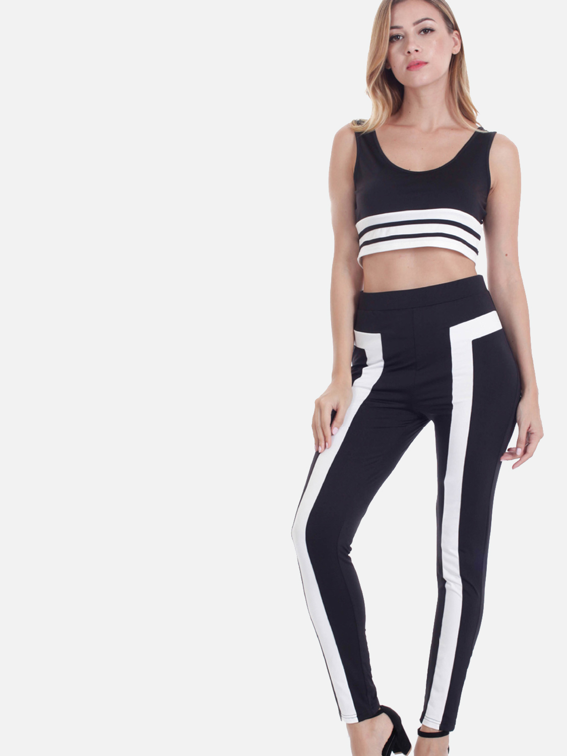 5a86308b27 US$ 28 - OneBling Two Tone Crop Tank Tops and Pants Sets - www.onebling.com