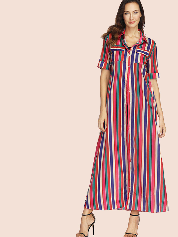 ba7cf7c9 US$ 30 - Rolled Up Sleeve Pockets Detail Maxi Shift Dress In Raimbow Striped  - www.onebling.com