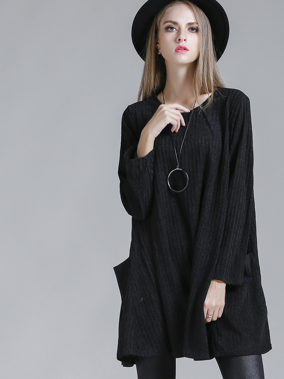 e6869c6895 US$ 50 - OneBling Crew Neck Long Sleeve Jumper Dress with Patch Pockets -  www.onebling.com