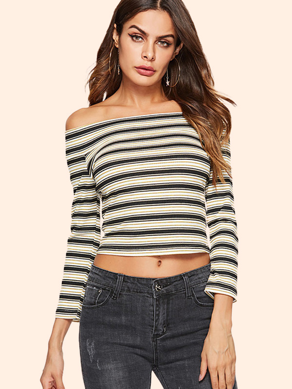 7a71981d60f US$ 22 - OneBling Off Shoulder Crop Tops In Striped with 3/4 Length Sleeve  - www.onebling.com