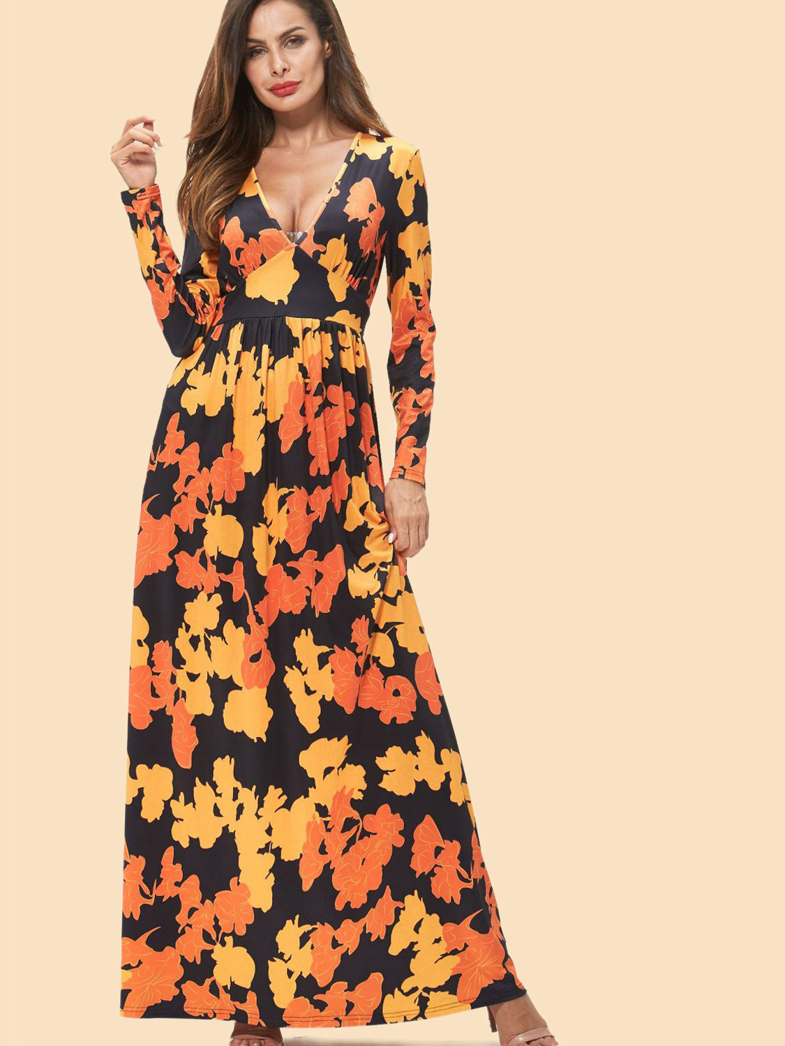 027a221a5f1 Paisley Floral Print Plunge Neck Long Sleeve Maxi Dress. Loading zoom