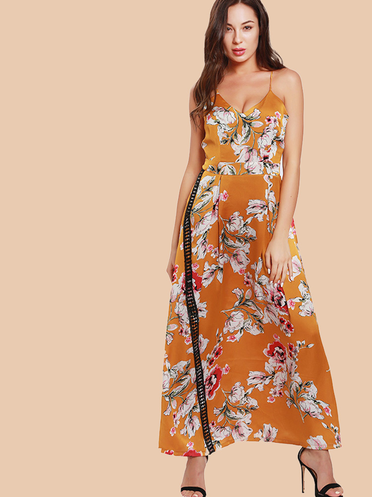 c95c25f7653 US$ 30 - Floral Print Lace Tape Detail Maxi Cmi Dress - www.onebling.com
