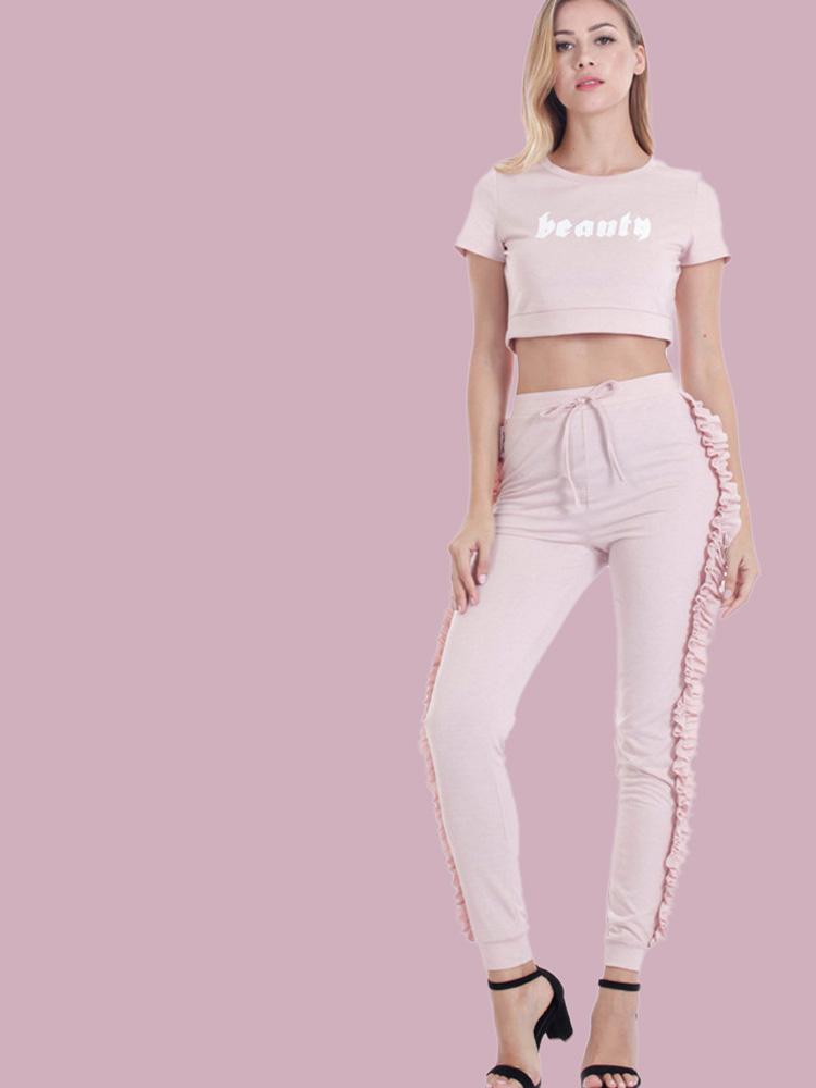 439d4949d1d6 OneBling Letter Graphic Crop Tops and Frill Side Pants Sets. Loading zoom