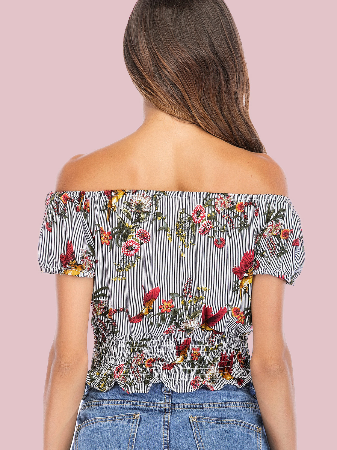 92ed7e7b641 US$ 20 - OneBling Striped and Floral Print Shirred Hem Puff Sleeve Off  Shoulder Crop Tops - www.onebling.com