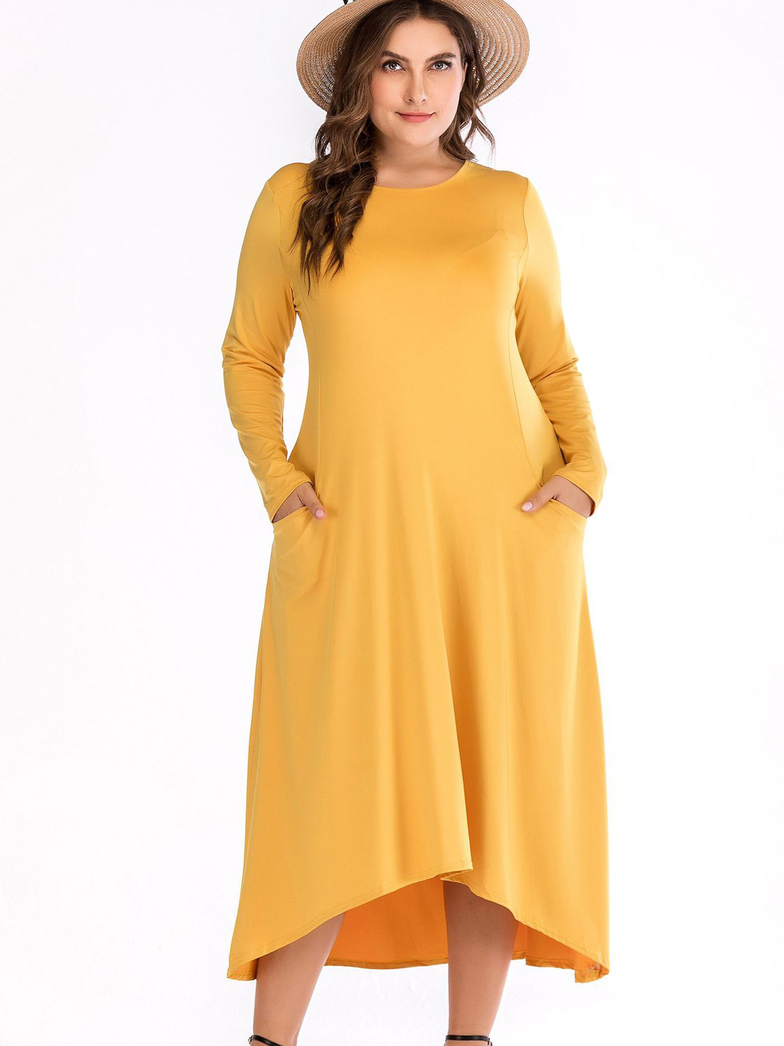 US$ 38 - OneBling Plus Size Dip Hem Long Sleeve Maxi Dress with ...