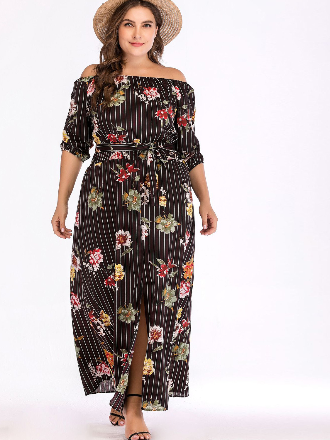 OneBling Plus Size Striped and Floral Print Off Shoulder Maxi Dress