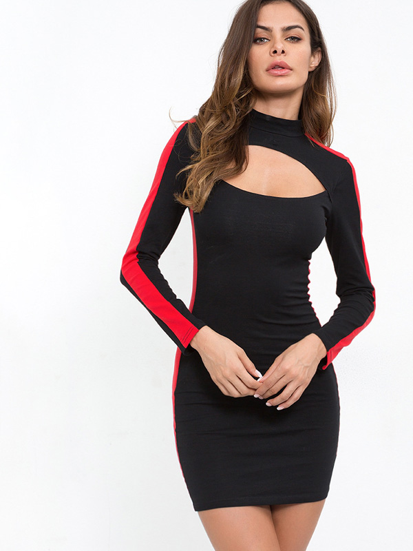 80b8944cd11f US  26 - OneBling Cut Out High Neck Bodycon Mini Dress with Side Tape -  www.onebling.com
