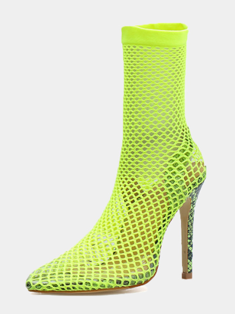 76172f2d1b3 OneBling Plus Size Neon Green Pointed Toe Fishnet Heeled Ankle Boots