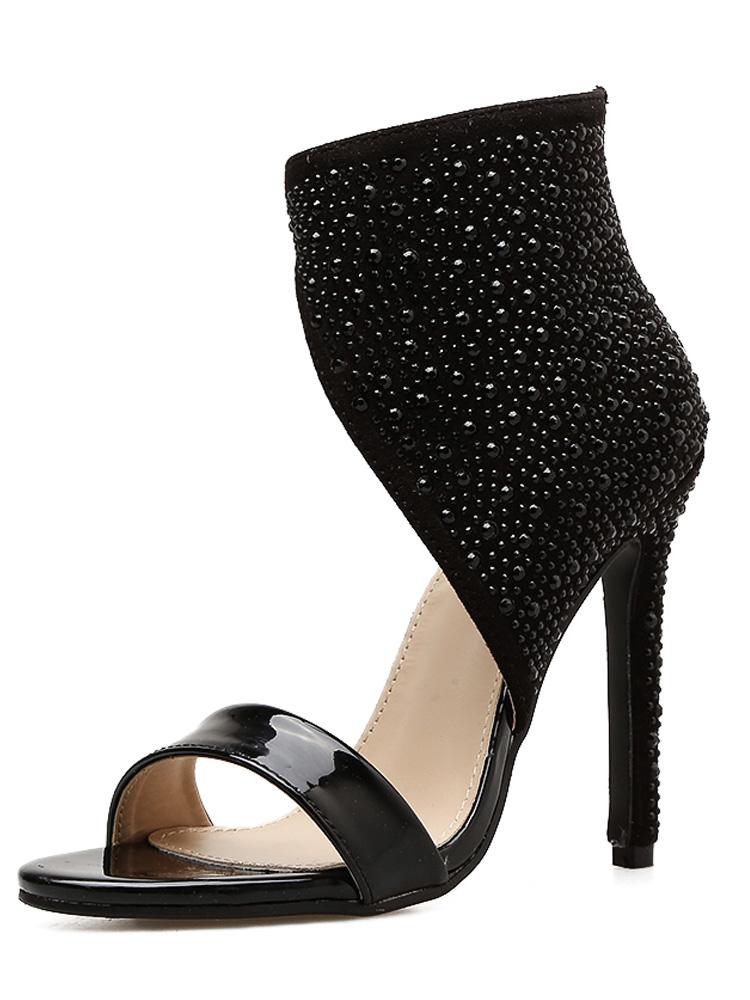 efe8e298e0 US$ 68 - OneBling Black Shiny PU Peep Toe Stilettos Ankle Boots with ...