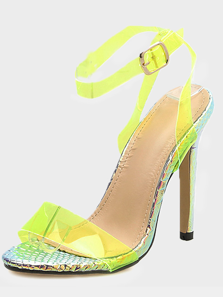 0cc2fd7b9c US$ 58 - OneBling Plus Size Yellow Clear Sandals with Metallic Heel ...
