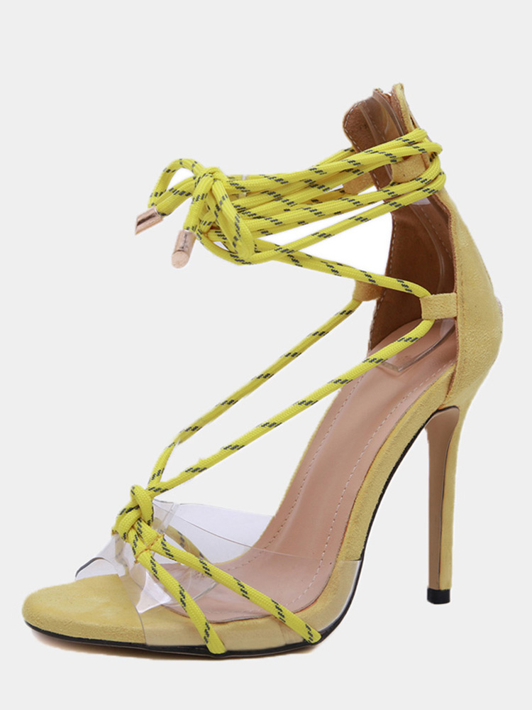 c67891f9c7 OneBling Clear Detail Leg Tie Heeled Gladiator Sandals / 11.5CM. Loading  zoom