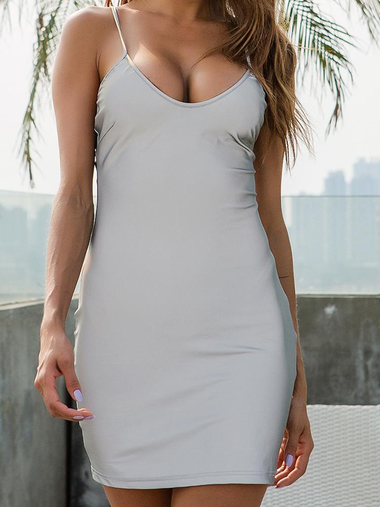 0ff2dbd35ad US$ 22 - OneBling Sexy Deep V Spaghetti Strap Bodycon Mini Dress Summer  Sliver Reflective Cami Dress Clubwear Women Party Dress - www.onebling.com