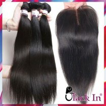 10A Quality  Brazilian / Peruvian hair with closure 3+1