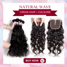 Hair with Closure ( 3+1 ) Natural wave