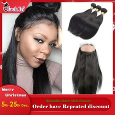 360 Closure With 2bundles Hair  Fashion & Popular style Hot selling - straight silky