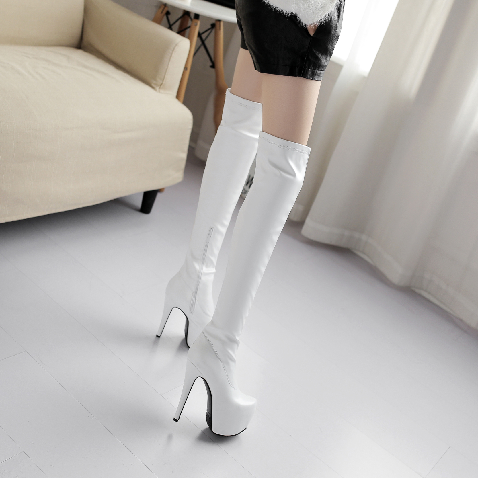 5c9d69358b73 US  99 - 2018 fashion winter high heels 15cm platform sexy winter boots  shoes for woman over the knee thigh high long boots short plush white Stretch  boots ...