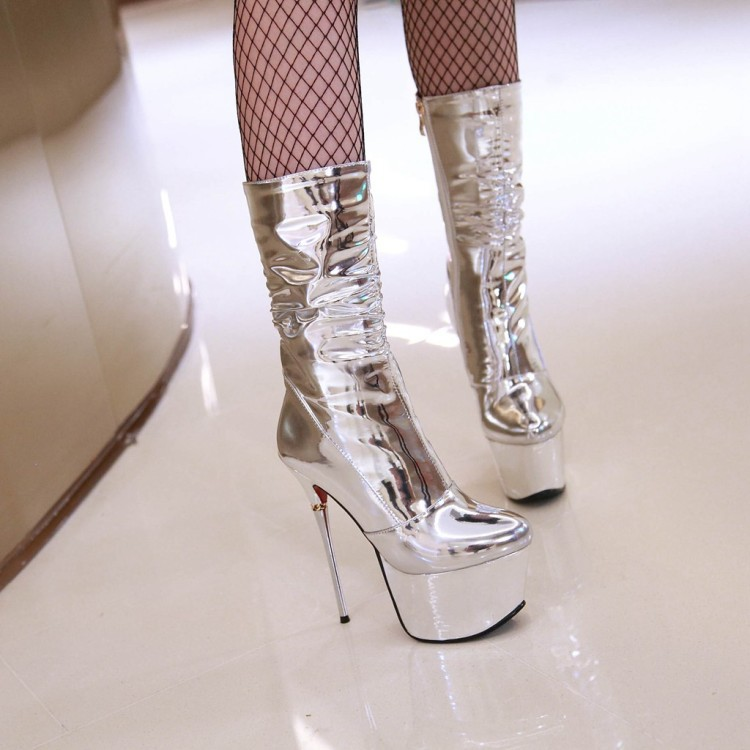 0b1411251be 2018 winter silver boots high heels 16cm platform sexy fashion mid calf  boots size 32-43 shoes for woman
