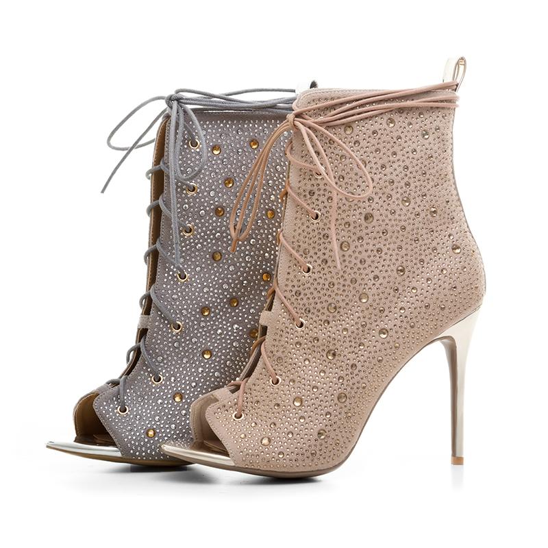 5b25d3fd9 Arden Furtado 2018 summer boots fashion woman shoes women ankle boots  stilettos high heels 12cm gold silver peep toe sandals