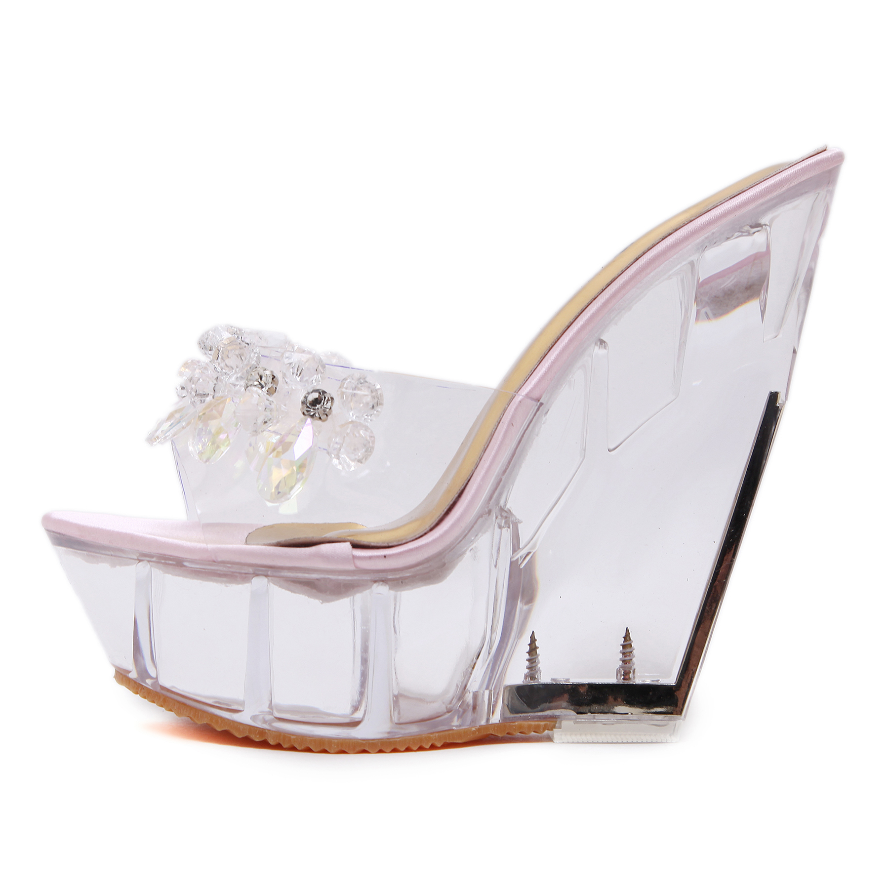 0db59ef4a2fb36 US  45 - 2018 summer sexy high heels 15cm Crystal heel sandals platform  clear wedges sandals fashion shoes women slippers - www.ardenfurtado.com