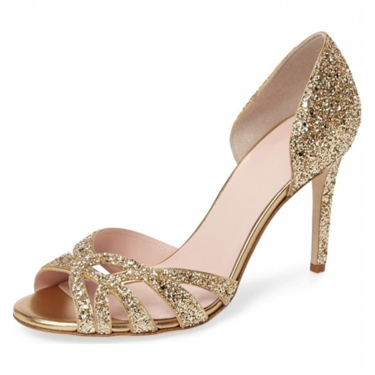 Gold Peep Toes Heels
