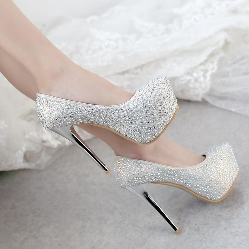 517173ebf2 US$ 45 - 2018 autumn new style platform wedding shoes platform gold silver  crystal rhinestone stilettos heels round toe pumps big size 48 ...