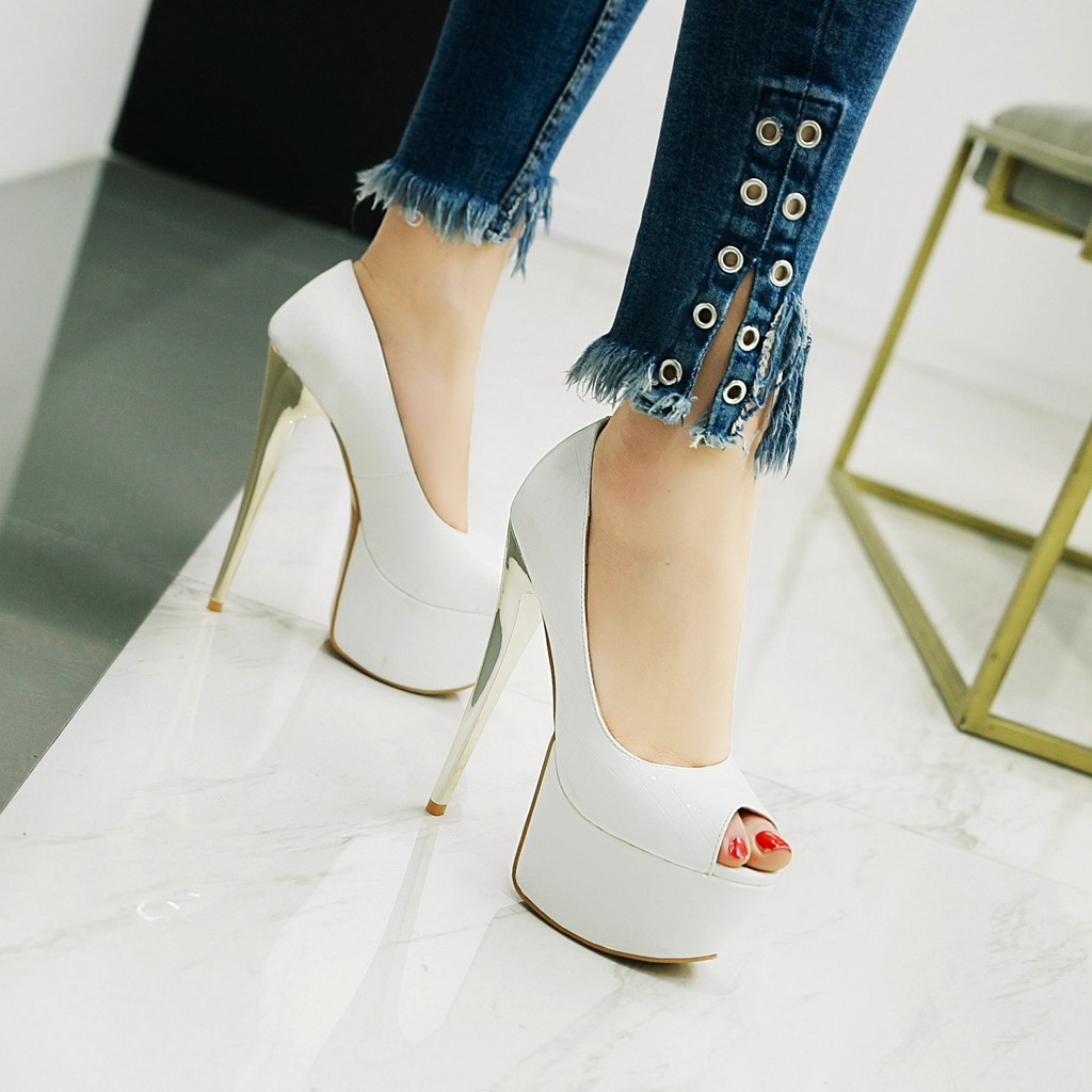9115cccdc493 US  45 - Arden Furtado 2018 spring summer new style shoes woman platform  high heels 16cm slip on pumps stilettos white pink black wedding shoes peep  toe ...