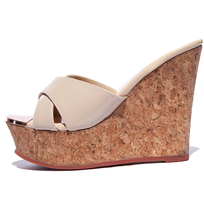 2b06e7e193d4 US  46 - Arden Furtado 2018 summer new style genuine leather fashion high  heels platform 12cm wedges nude slippers slides shoes for woman ...