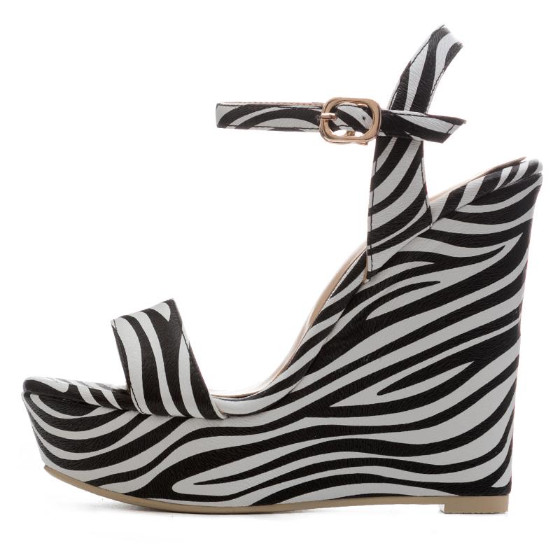 df57c64ff223 US  55 - Arden Furtado 2018 summer high heels 12cm wedges buckle strap  platform striped fashion sandals casual shoes women ladies girls big size  sandals ...