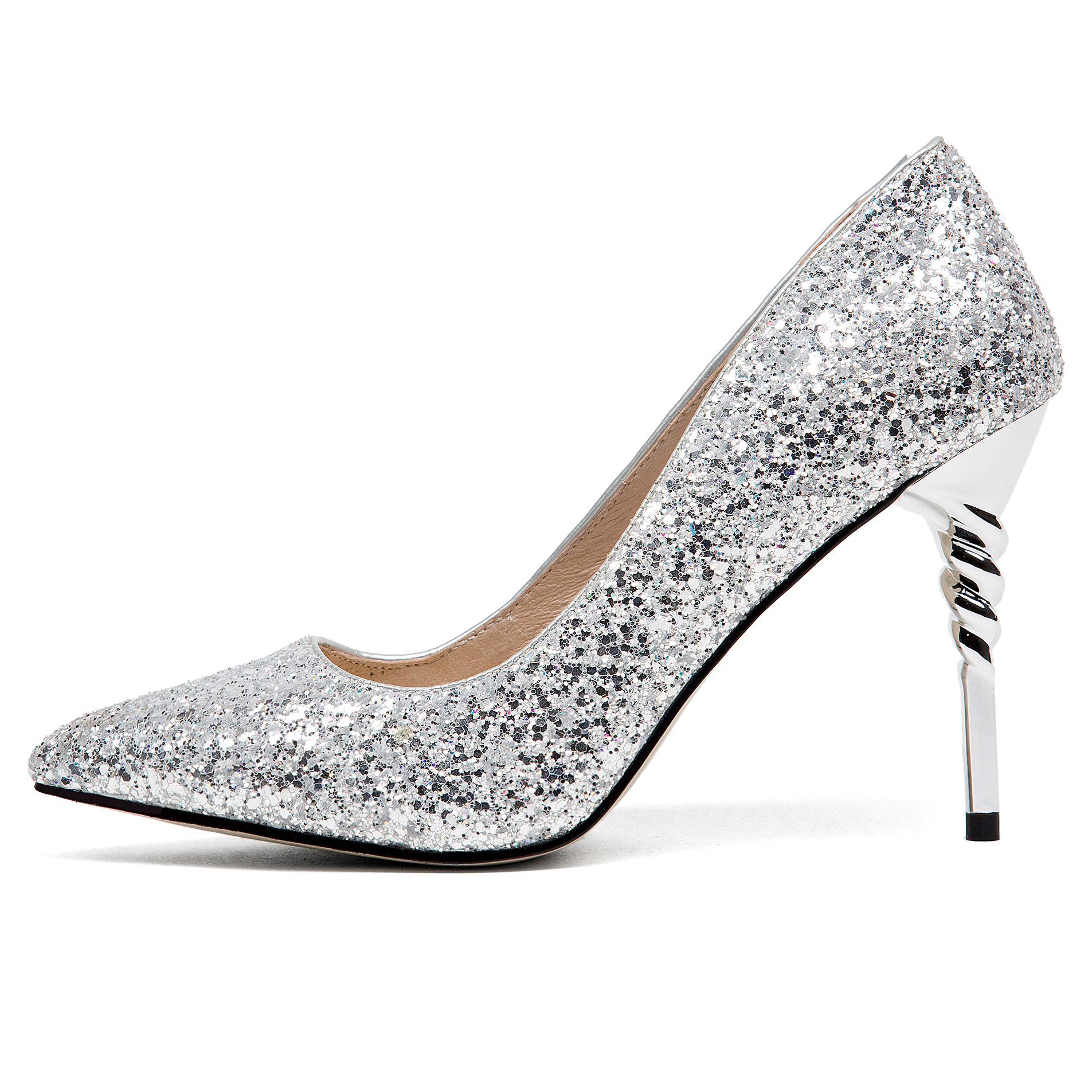 b6da82e14ec Arden Furtado 2018 new spring autumn fashion style sequined cloth shoes  woman high heels 9cm slip on pumps gold silver stilettos