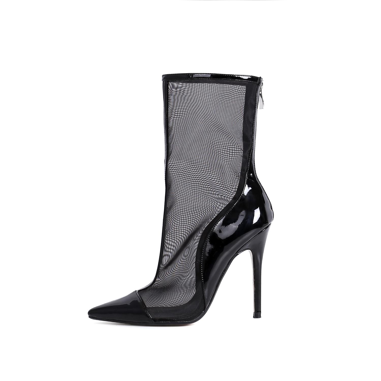 US  55 - Arden Furtado 2018 spring summer high heels fashion shoes women  back zipper stilettos ankle boots pink mesh boots woman girls -  www.ardenfurtado. ... 3d0ba1a06a3d