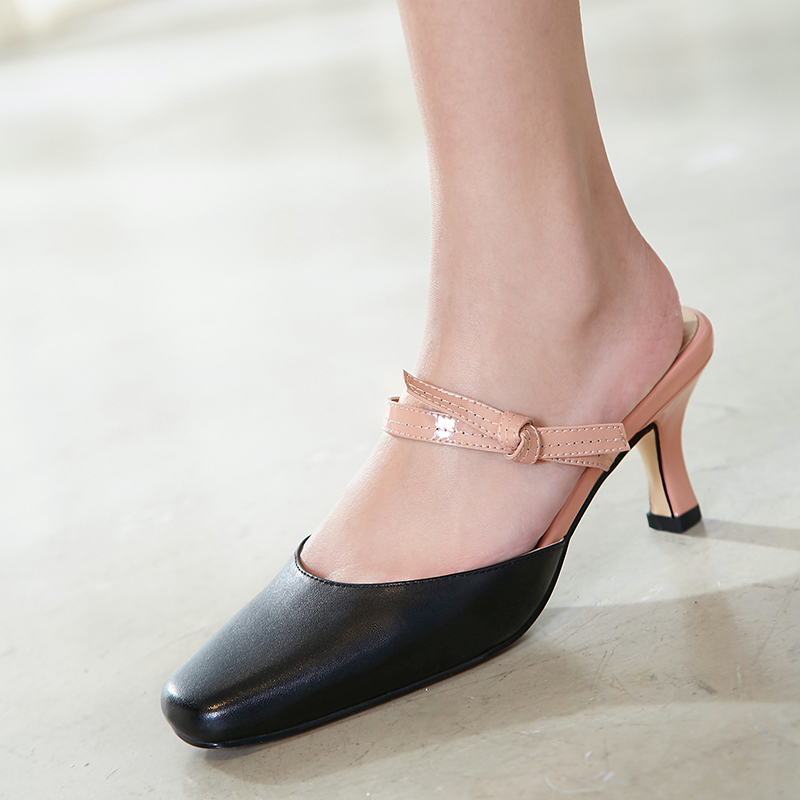 US  49 - Arden Furtado 2018 summer genuine leather sexy high heels 6cm  fashion shoes woman slip on butterfly knot slides mules slippers -  www.ardenfurtado. ... 0098a7fba4a9