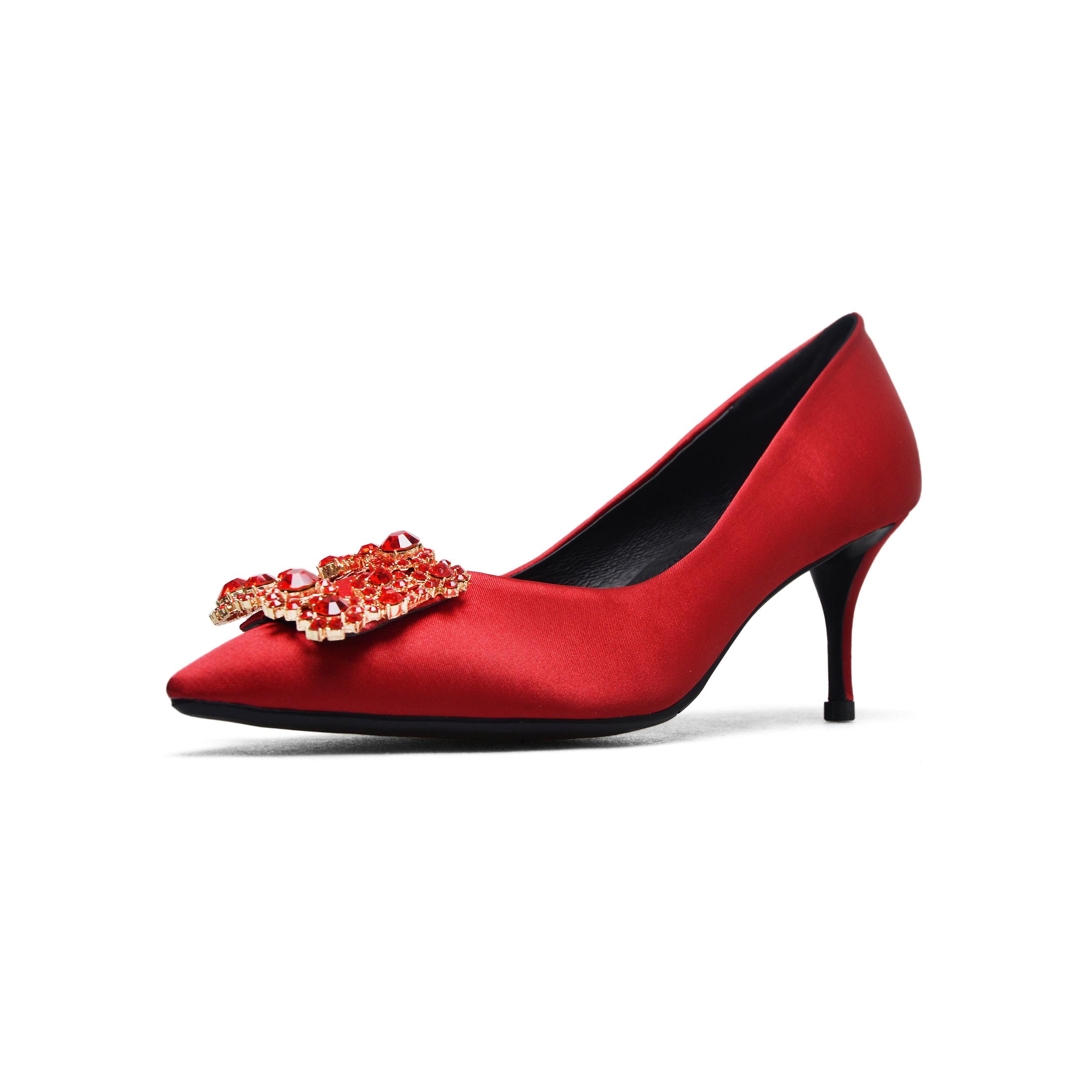efb3d7000e40b US  52 - Arden Furtado 2018 spring autumn fashion sexy high heels office  lady crystal flowers size 40-43 red blue satin pumps stilettos -  www.ardenfurtado. ...