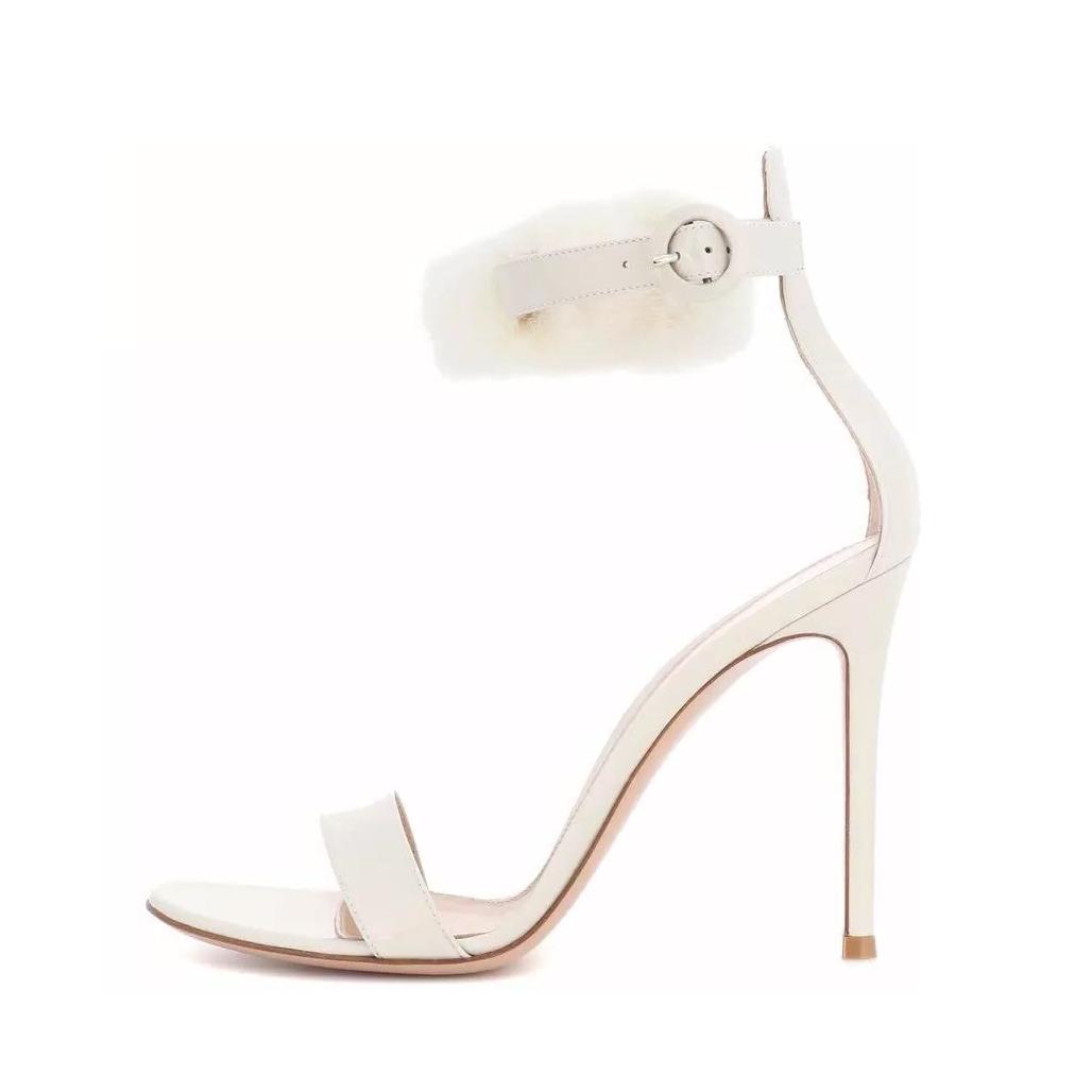 cc7e5bdaf2f2a US  55 - Arden Furtado 2018 summer new style shoes for woman high heels  white buckle strap stilettos sandals 12cm fur ball wedding shoes -  www.ardenfurtado. ...