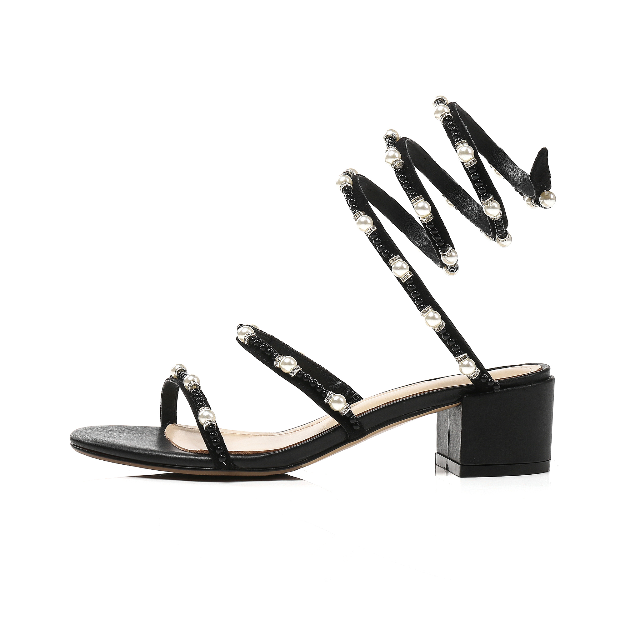 2313798a5 US  60 - Arden Furtado 2018 summer square heels 5cm crystal gladiator  sandals ankle strap fashion rhinestone pearls woman shoes ladies -  www.ardenfurtado. ...