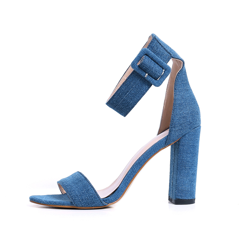 2b2ca8081a5 US  60 - Arden Furtado 2018 summer high heels 9cm open toe jeans casual  sandals fashion ankle strap cover heels woman shoes buckle strap -  www.ardenfurtado. ...