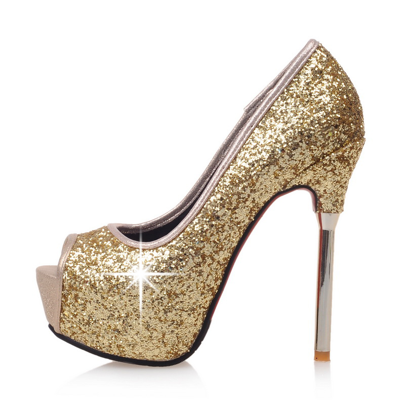 d9d6fd3f46313b US  60 - Arden Furtado 2018 spring summer high heels 13cm sequined cloth  bling bling peep toe platform stilettos wedding shoes ladies 33 -  www.ardenfurtado. ...
