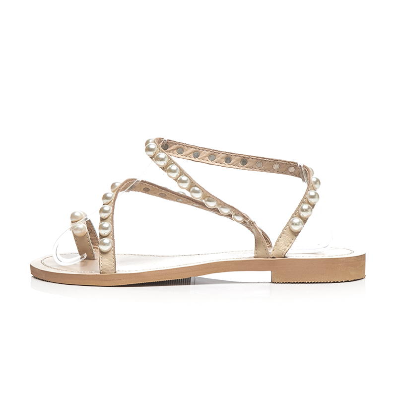 5acb7cd7657 US  60 - Arden Furtado 2018 summer fashion flat genuine leather buckle strap  pearl gladiator sandals shoes for woman flip-flops slippers -  www.ardenfurtado. ...