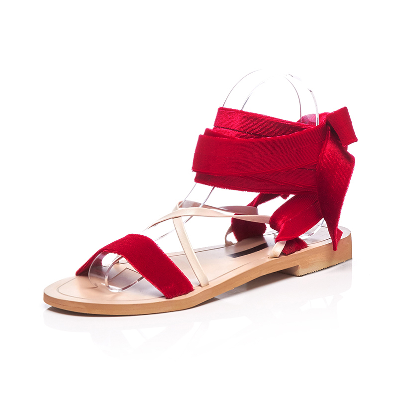 ee6ad86e4df US  60 - Arden Furtado 2018 summer flats sandals ankle strap gladiator big  size velvet flip-flops grey red casual sandals women ladies -  www.ardenfurtado. ...