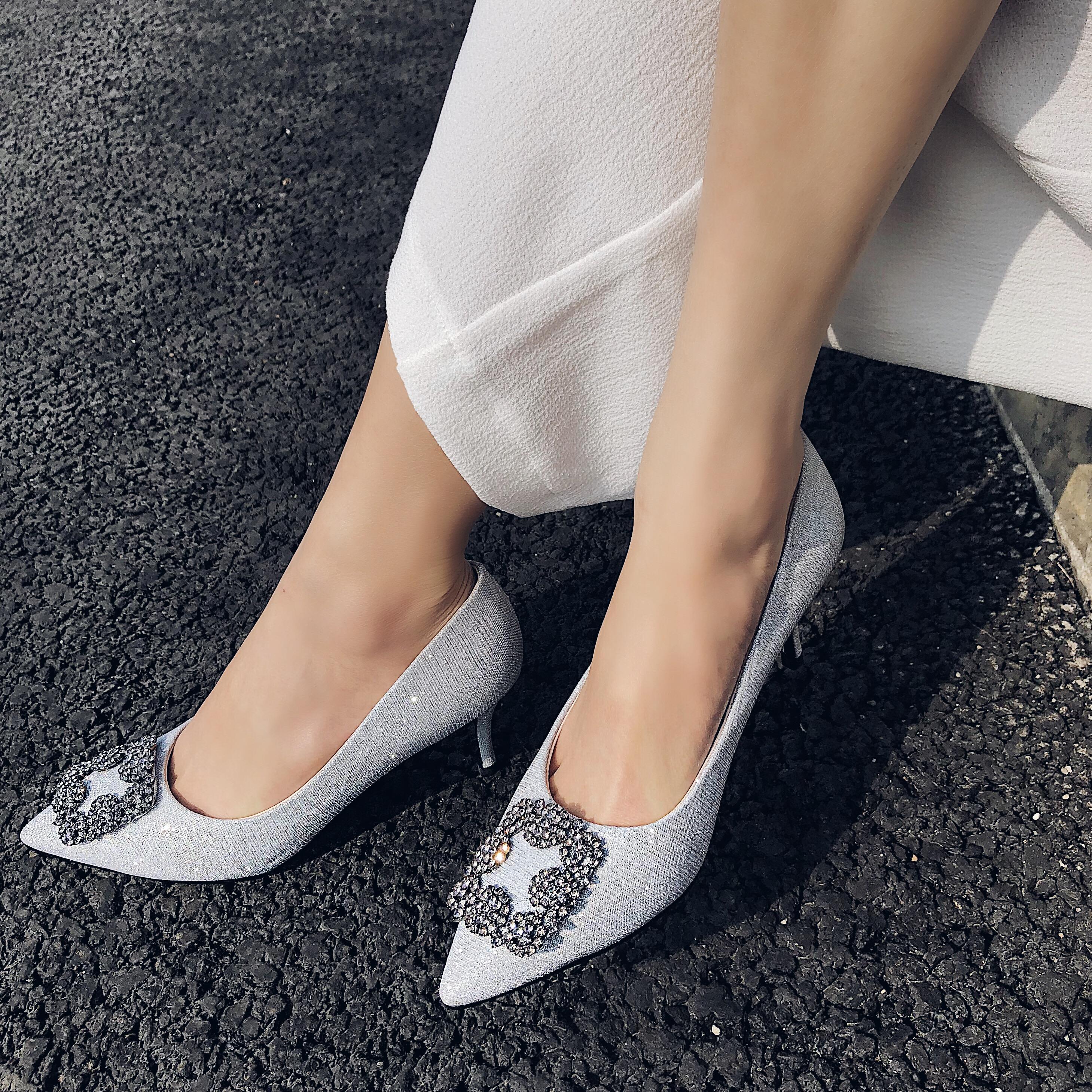 d7282c87bca9e4 US  60 - Arden Furtado new 2018 spring autumn slip on office lady pumps bling  bling crystal high heels 7cm sexy silver elegant stilettos -  www.ardenfurtado. ...
