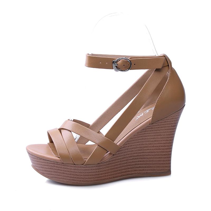 7d3f55e3f73a US  60 - Arden Furtado 2018 summer fashion high heels 10cm platform wedges  buckle strap genuine leather cover heels casual sandals shoes -  www.ardenfurtado. ...