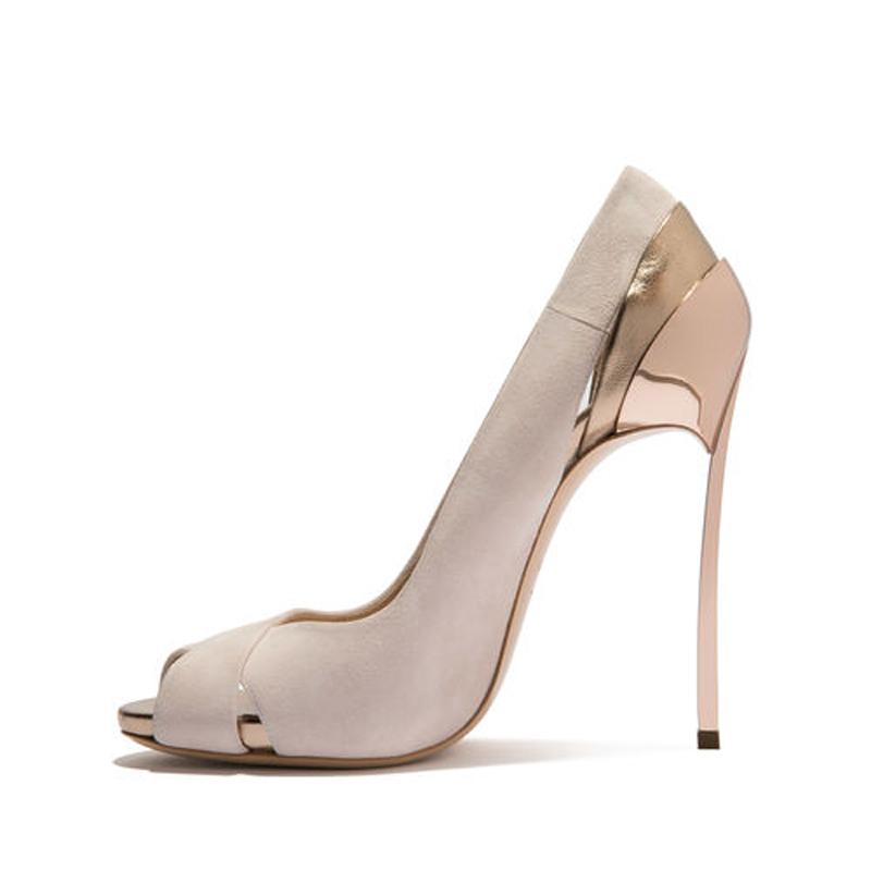 fc1cbb414093 US  55 - Arden Furtado 2018 spring summer slip on high heels 12cm peep toe  pumps metal heels fashion party shoes women ladies size 43 new ...