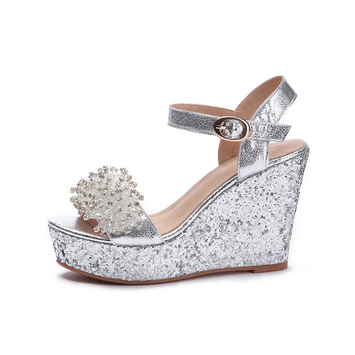 US  60 - Arden Furtado 2018 summer high heels platform wedges crystal  rhinestone flowers silver fashion buckle sandals shoes for woman -  www.ardenfurtado. ... fb765566b4ad