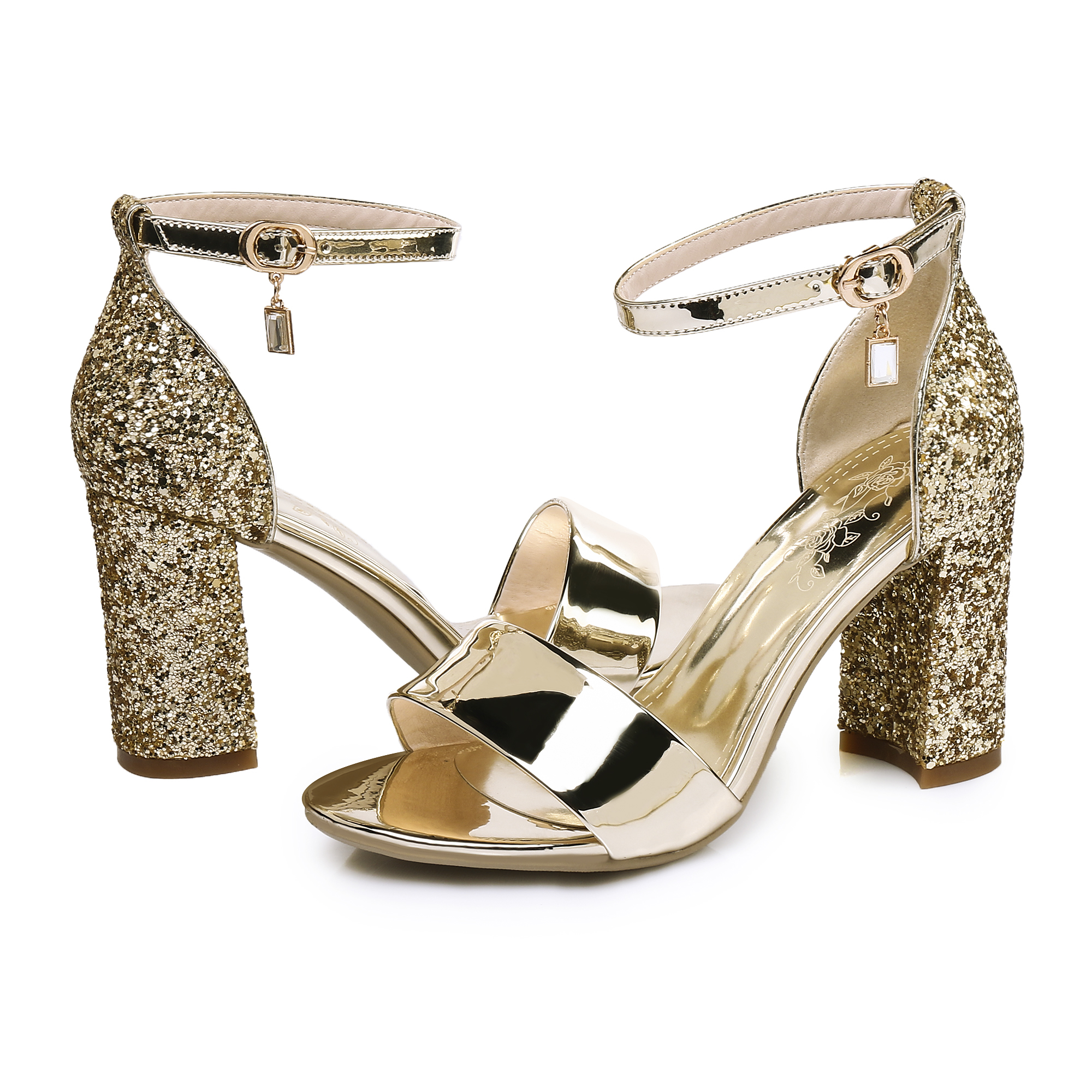 6f559b28b814dd US  60 - Arden Furtado 2018 summer high heels 8cm ankle strap gold silver  small size 32 33 bling bling sequined cloth sandals party shoes ...