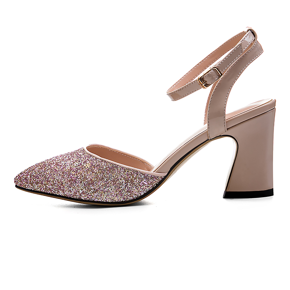 b493b546e4a Arden Furtado new 2018 summer high heels 8cm bling bling pointed toe ankle  strap fashion sequined sandals for woman party shoes