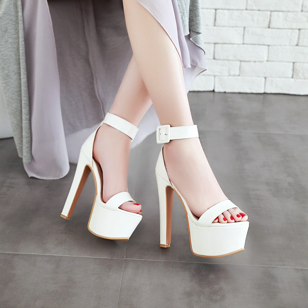 456e69e0a7a Arden Furtado summer high heels 16cm ankle strap platform red white fashion  sandals shoes for woman night club party shoes