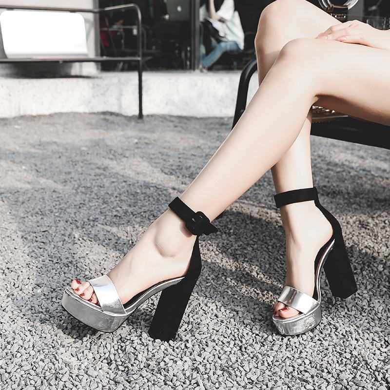5bd5751f0d64 US  49 - 2018 spring autumn genuine leather pumps slip on fashion ankle  strap platform casual high heels 12cm platform sandals shoes for woma ...