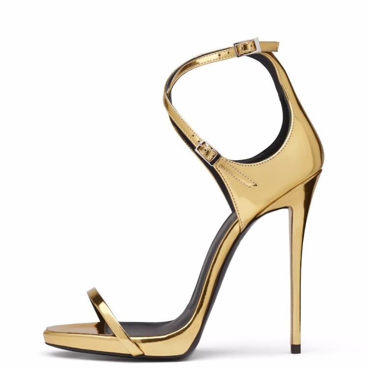 0d96ba86fb71c US$ 51 - Women's gold Open toe Stiletto Heel Ankle Strap Sandals high heels  12cm - www.ardenfurtado.com