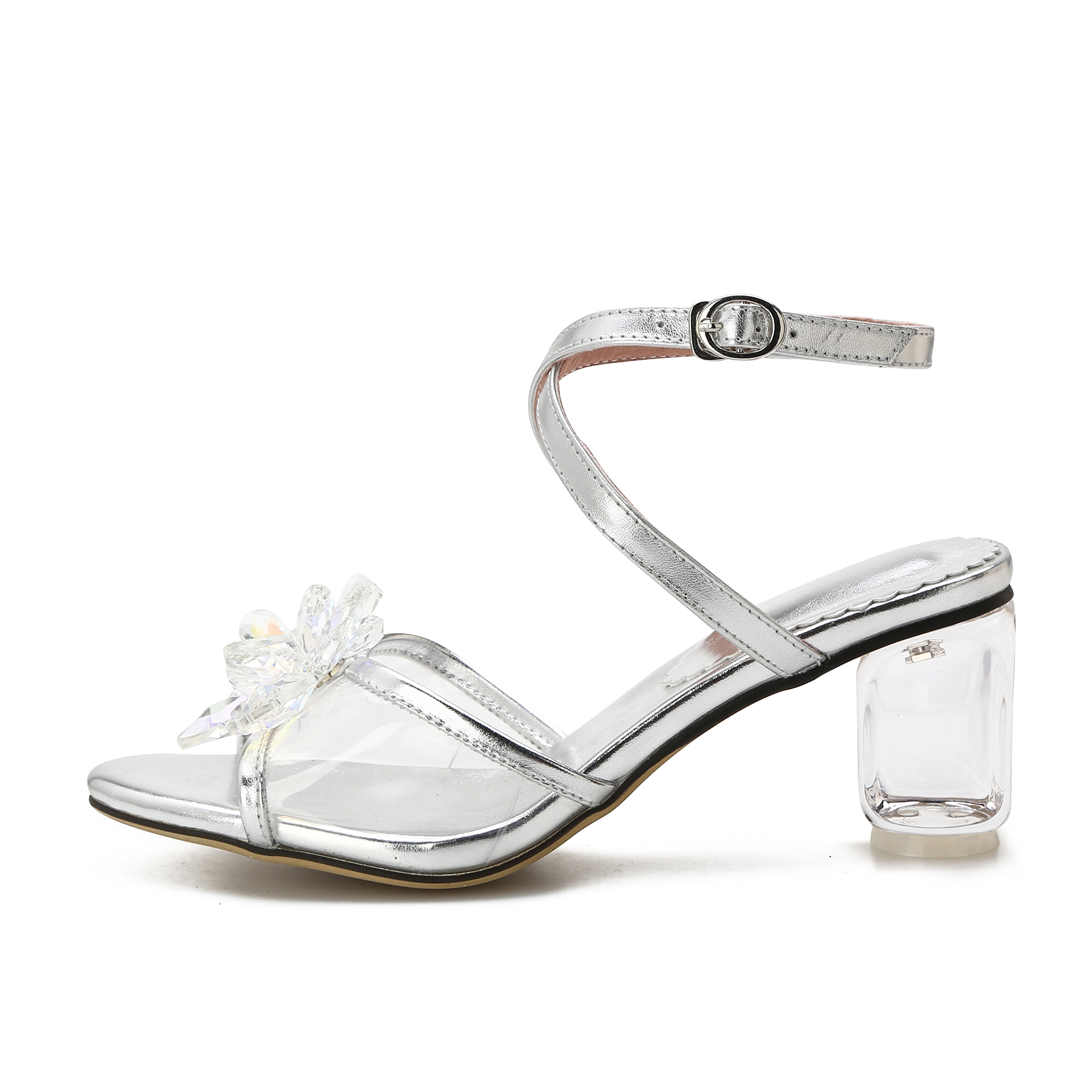b7684b55be9 US  60 - Arden Furtado 2018 summer crystal high heels rhinestone flowers  ankle strap fashion silver sandals genuine leather shoes woman -  www.ardenfurtado. ...